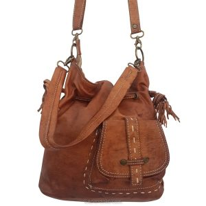 Moroccan leather bag handbag brown antique