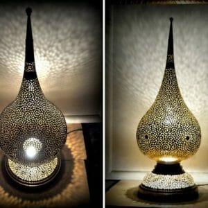 Moroccan Silver & Bronze Copper Lamp Holder