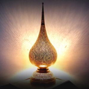 Moroccan Silver & Bronze Copper Lamp Holder